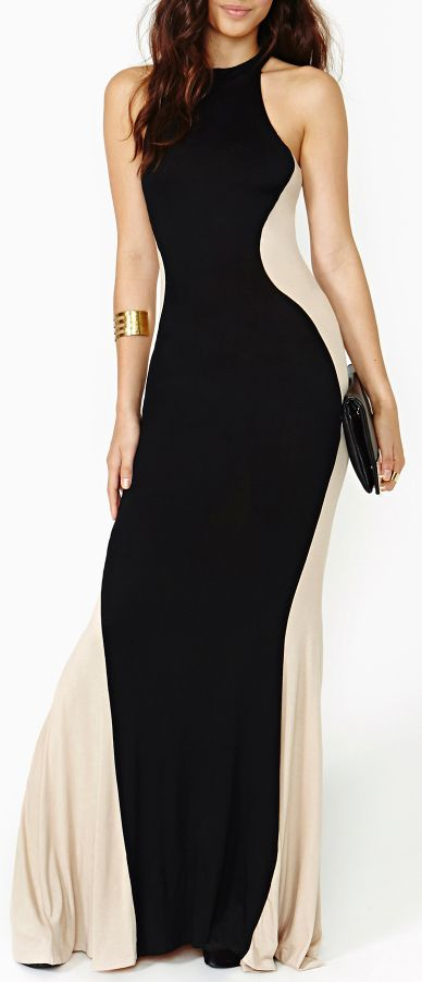 Black and Nude Maxi Dress