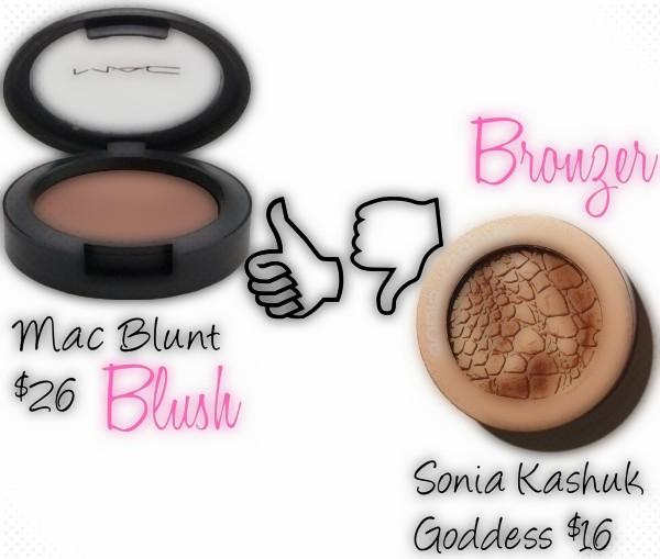 "img alt=""mac blunt, bronzer, sonia kashuk, goddess, blush"""